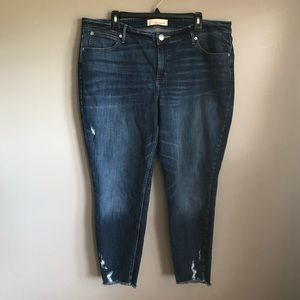 Maurices cropped distressed raw hem jeans size 20
